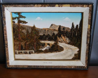 Vintage Bark and Moss Painting, Pig-Tail Bridge Painting, Trees of Mystery, Made in Japan, 3D Japanese Art, Collage Nature Art