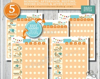 Routine Chart BUNDLE | 5 DAILY Charts | Morning, Afternoon, Bedtime, Before School and After School | Orange | Children's Charts | Chores