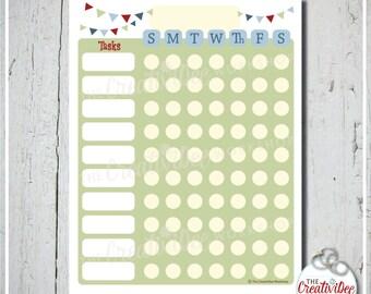 Chore Chart   Children's Chore Chart   Green   EDITABLE Chore Chart   Printable Weekly Chart   Chart for Chores   Boy's Chart   Vertical