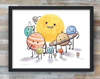 Solar System Family Portrait art print