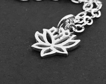 Lotus Necklace Silver Sterling, Tiny Lotus Pendant, Water Lily Flower Pendant, Lotus Charm