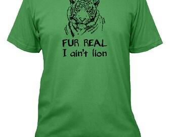 Mens Funny Big Cat Tshirt - Cat Humor Tiger Mens Shirt - Size S, M, L, XL, 2XL - Gray, Green, Blue Mens Cotton Shirt