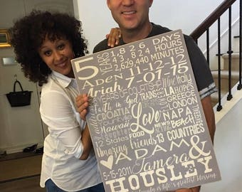 5th Anniversary Sign Gift on Wood, 5th anniversary gift for him, anniversary gift, 5 year anniversary, family name sign, Wood Sign