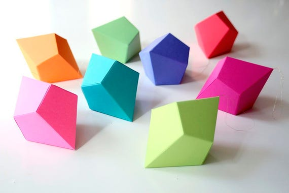 DIY Geometric Paper Ornaments - Set of 8 Paper Polyhedra Templates - Brights Palette