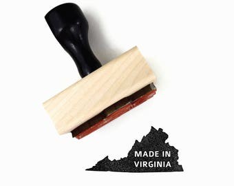Rubber Stamp Made in Virginia - VA State Silhouette Outline Stamp by Creatiate