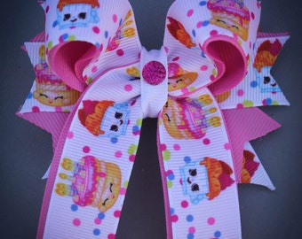 Shopkins Birthday Bow, Shopkins Wishes Bow, Shopkins Hair Bow, Shopkins Party, Wishes Bow, Shopkins Bow with Tails, Shopkins Shirt