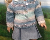 Aqua and Mint Striped Sweater and Hat for 18 inch Contemporary Girls