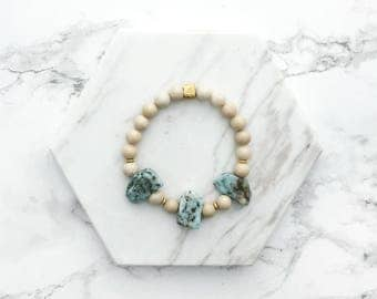 Gemstone Stacking Bracelet, Turquoise Gemstone Bracelet, White Stacking Bracelet, Layering Bracelet, Boho Jewelry, Gift for Her, Best Friend