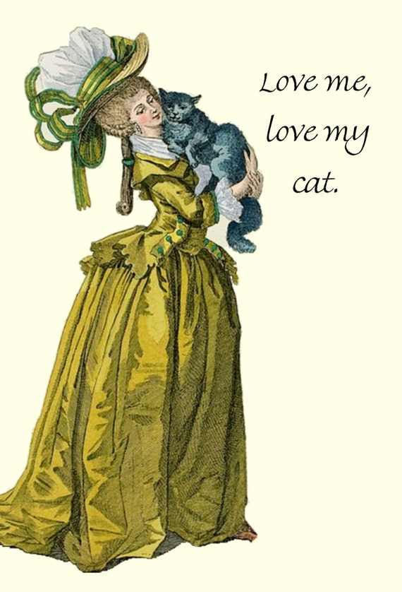 Love Me, Love My Cat. Cat. Love. Feline. Marie Antoinette Card. Marie Antoinette. Postcard. Yellow, Gray. Hat. High Hair. Free Shipping.