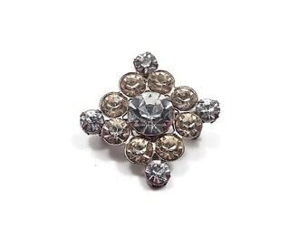 Vintage Rhinestone Brooch Pin Silver Tone Diamond Shape Mid Century Womens Bling Glitz Glam