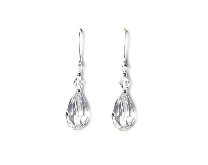Clear Swarovski Crystal 18mm Teardrop Silver Earrings Wedding Day Jewelry for Women Tear Drop Style for Mother of the Bride Anniversary Gift