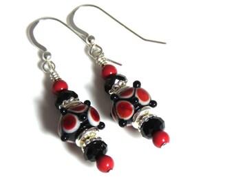 Red White & Black Lampwork Earrings, Black Swarovski Crystals, Black Earrings, White Earrings, Red Earrings, Sterling Silver, Pearl Earrings