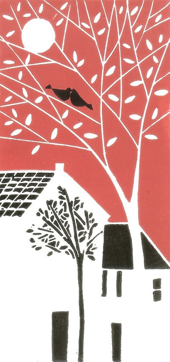 Love Birds Home - Valentines Day Original Linocut Limited Edition of 20 - Lino print - Block Print, Red & Black, Signed,Anniversary Gift