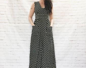 Vintage años 60 Lillie Rubin Mod brocado Plaza azafata impresión Maxi vestido S M negro blanco bolsillos sin mangas