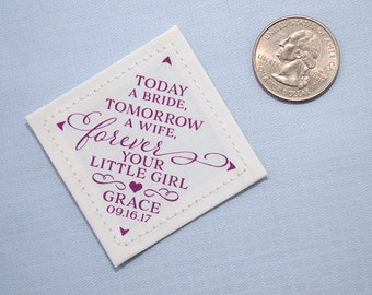 Dad from Bride Tie Patch • Today Tomorrow Forever Your Little Girl • Suit Label • Father of the Bride Personalized Gift • Wedding Mementos