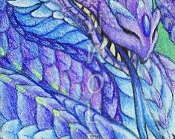 Purple Amethyst Emerald Green Dragon Print