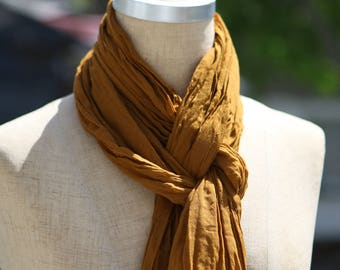 Cotton Voile Summer Scarf, Lightweight Summer Accessory, Sheer Cotton Scarf, Curry Scarf, Pure Cotton, Boho, Natural Fiber, Long Scarf