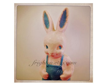 Creepy Cute Pink and Blue Plastic Bunny Rabbit Art Print, Weird Photography, Unusual Easter Decor, Vintage Bunny Rabbit