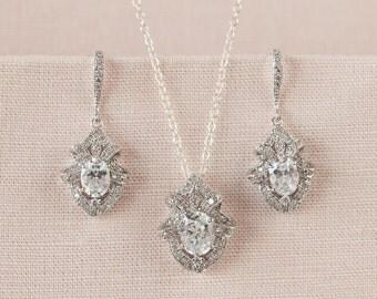 Crystal Bridal Earrings, Crystal Pendant, Bridal Jewelry SET, Wedding Jewelry, Bridal Necklace, Gabrielle Crystal SET