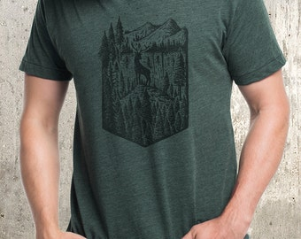 Men's Forest Elk & Mountain T-Shirt - Men's American Apparel T-Shirt - Heather Forest