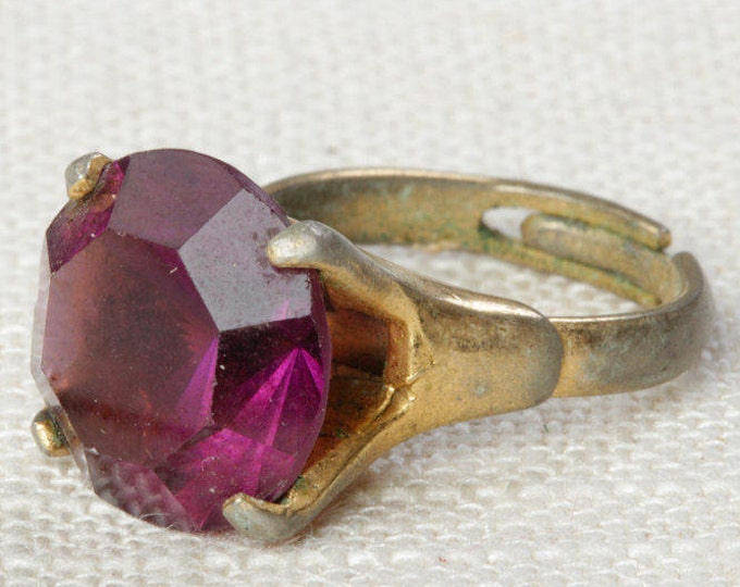 Purple Rhinestone Vintage Ring Gold Plum Amethyst Burgundy Solitaire Adjustable US Womens Size 5.5 7I