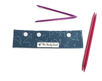 """Small Space The New Frontier Celestial Sky Steel Blue DPN Circular Project Holder for needles up to 7-1/2"""" long S271"""
