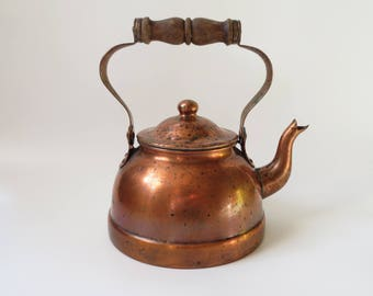 Vintage Copper Tea Kettle Wood Handle Wooden Farmhouse Decor Made Portugal Wood Stove Humidifier Cottage Chic Rustic Old Photo Props Planter