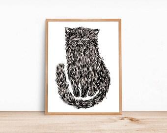 Black White Neutral Brushy Cat Poster 16x20