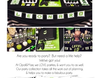 Video Game Party |Gamer Party | Arcade Birthday | Video Game Birthday Party | Personalized Printable | Full party