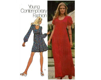 High Waisted Dress Long or Short Puffed Sleeves Bust 36 Size 14 Uncut Sewing Pattern Young Contemporary Fashion Simplicity 9764 1970s
