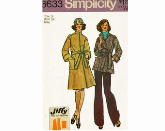 Vintage Coat Sewing Pattern 1970s Size 14 Bust 36 UNCUT Simplicity Jiffy 6633 Easy cut Easy Sew Front Wrap Coat in 2 lengths 70s