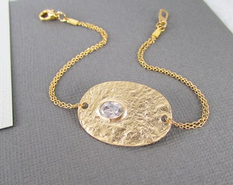 Gold Disc Bracelet - Crystal Bracelet, Gold Bracelet, Charm Bracelet, Gifts for her, Gifts for women, Delicate Bracelet, Dainty Bracelet
