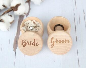 Wedding Ring Box Set Bride and Groom Keepsake Ring Box Engraved Rustic Wedding Ring Box