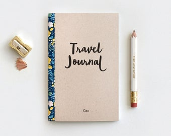 Personalized Floral Travel Journal & Pencil Set - Brown Recycled Stocking Stuffer - Midori Travelers Notebook Insert, Spring Graduation Gift