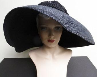 Vintage 1980s Hat//80s Hat//Black//Patricia Underwood //large Brim Hat//Crocheted Crown//
