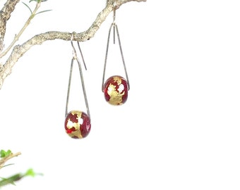 Red and gold glass earrings