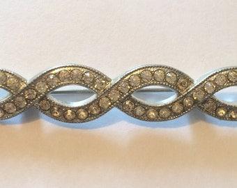 Twisted Braid Rhinestone Brooch Art Nouveau Rope Pin