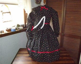 Girls size 6 Civil War Dress and Bonnet Cherry Print Civil War Dress Reenactors Dress