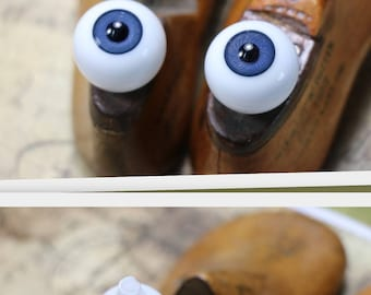 1 Antique Pair of  Large Glass Eyes - Choice of Blue, Brown, Green or Hazel