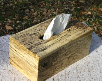 """The BlackWater TBC -  Spalted Hackberry Tissue Box Cover """"Tall"""""""