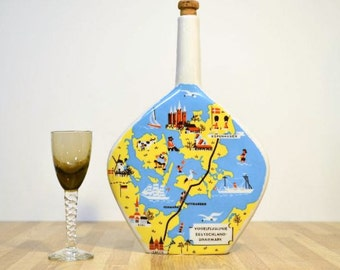 Vintage Denmark Liquor Bottle 1960s Escorial Grun Anton Riemerschmid Deutsches Erzeugnis Weinbrennerei und Likorfabrik Munchen Germany