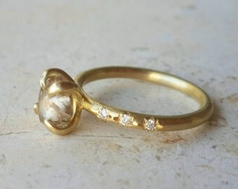 Engagement Ring in 18k Solid Gold with Diamonds . Rough Diamond Ring . Wedding Ring . Diamond Solitaire Ring. Raw Diamond Ring. Stack Ring