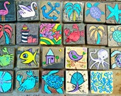 LuckiiArts beachy stone magnets