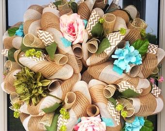 Natural Spring Burlap Lavish Wreath, wreath, wreaths, deco mesh wreath, deco mesh wreaths, front door wreaths, floral wreath