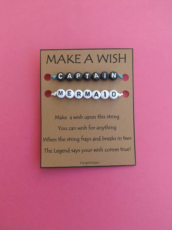 Captain and Mermaid Black White Double Wish String