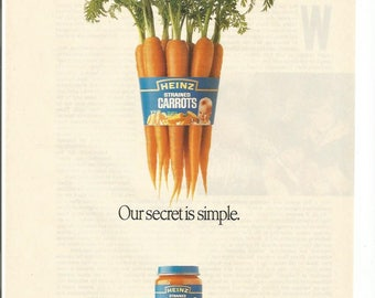 1989 Advertisement Heinz Strained Carrots Baby Infant Food Simple Secret Bunch Fresh Picked Kitchen Wall Art Decor