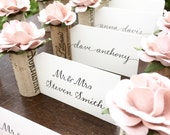 Blush Pink Rose Place Card Holder Wedding. Bridal Shower Decorations. Winery Wedding Decor. Wine Theme Wedding. Bridal Shower Wine Tasting