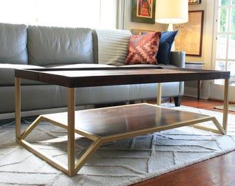 Onzaga Table-Walnut and Brass Mid Century Modern Coffee Table