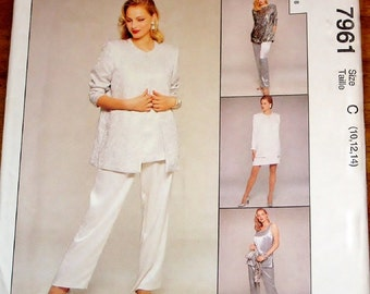 Easy Party Mixers Sewing Pattern McCalls 7961 Jacket, Dress, Top, Tunic, Pants Womens Misses Size 10 12 14 Bust 32 34 36 Uncut Factory Folds