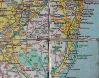 Map Tile Coasters / 6 Piece Set Travel Map Coasters / Decorative Tile Coasters / Christmas or Wedding Gift or Travelers Gift